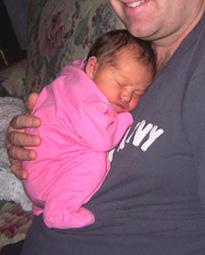 Νεογέννητο μωράκι στην αγκαλιά του μπαμπά του