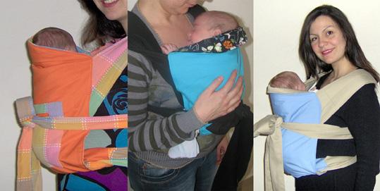 Μωράκια νεογέννητα σε μάρσιπο mei tai, σε όρθια στάση