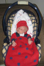 Νεογέννητο μωρό σε καθισματάκι αυτοκινήτου