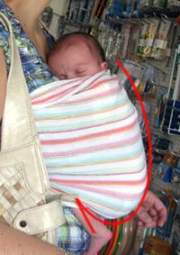 Μωράκι σε όρθια θέση σε μάρσιπο αγκαλιάς sling