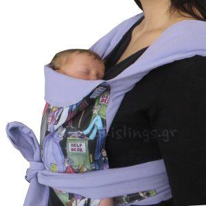 Νεογέννητο μωρό σε Αστεράκι mei tai μάρσιπο