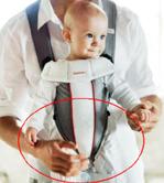 Ένα στενό τμήμα του (συμβατικού) μάρσιπου ανάμεσα στα πόδια του μωρού στηρίζει το βάρος του
