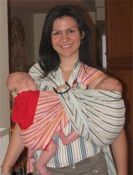 Babywearing με δίδυμα, μάρσιπος ring sling.