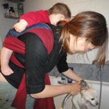 Πλένουμε το σκύλο μαζί με το μωρό