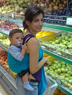 shopping with baby in sling
