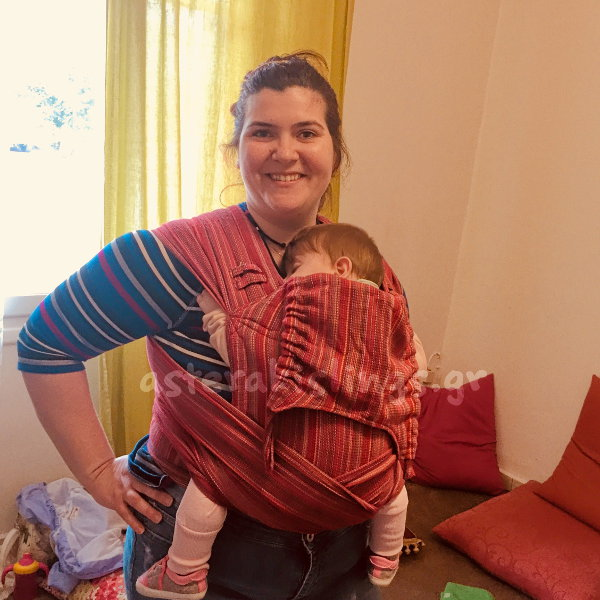 Μεγάλο μωρό σε μάρσιπο Αστεράκι wrap